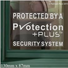 Protection PlusTM Design Window Stickers-Alarm System Installed-Security Warning Window Stickers-Self Adhesive Vinyl Signs